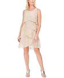 Tiered Metallic Sheath Dress