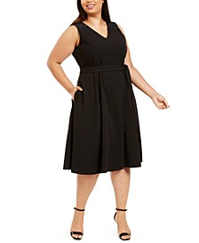 Plus Size Belted Embellished A-Line Dress