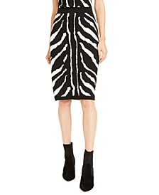 Zebra-Print Sweater Pencil Skirt, Created For Macy's