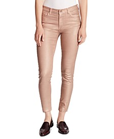 Foiled High-Rise Skinny Ankle Jeans