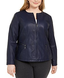 Plus Size Faux Leather Zipper Jacket, Created for Macy's