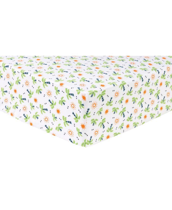 Trend Lab - Dinosaur Palm Flannel Crib Sheet