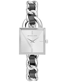 Women's MK Chain Lock Stainless Steel & Black Leather Bracelet Watch 25mm