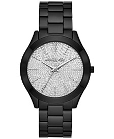 Women's Slim Runway Black Ion-Plated Stainless Steel Bracelet Watch 42mm