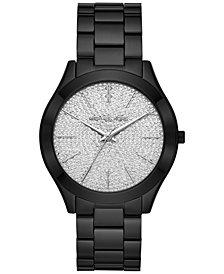 Michael Kors Women's Slim Runway Black Ion-Plated Stainless Steel Bracelet Watch 42mm