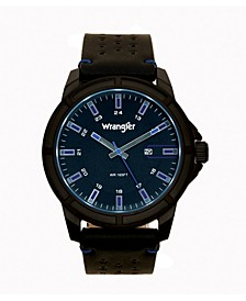 Men's Watch 48MM IP Black Case with Black Dial, Blue Index Markers, Sand Satin Dial, Analog, Date Function, Blue Second Hand, Black Strap with Blue Accent Stitch