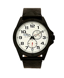 Men's Watch, 48MM Black Case, Compass Directions on Bezel, White Dial, Black Arabic Numerals, Multi-Function Date and Second Hand Subdials, Black Strap