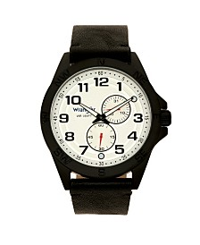 Wrangler Men's Watch, 48MM Black Case, Compass Directions on Bezel, White Dial, Black Arabic Numerals, Multi-Function Date and Second Hand Subdials, Black Strap