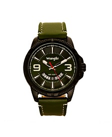 Men's Watch, 48MM Black Ridged Case with Green Zoned Dial, Outer Zone is Milled with White Index Markers, Outer Ring Has is Marked with White, Analog Watch with Red Second Hand and Crescent