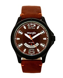 Wrangler Men's Watch, 48MM IP Black Case, Brown Zoned Dial with White Markers and Crescent Cutout Date Function, Brown Strap with Red Accent Stitch Analog, Red Second Hand