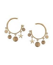 Hoop with Charm Drop Offs Earrings