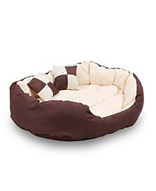 "Durable Bolster Sleeper Oval Pet Bed with Removable Reversible Insert Cushion and Additional Two Pillow, 34""x27"""
