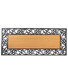 "Floral Rubber Coir Insert Welcome Doormat, 24"" x 57"""