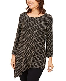 Petite Metallic Asymmetrical Top, Created For Macy's