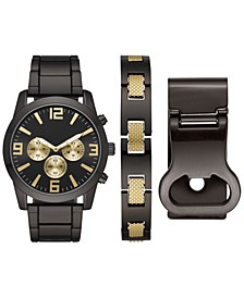 Men's Gunmetal Bracelet Watch 46mm Box Set