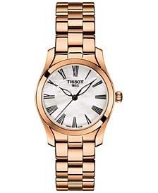 Women's Swiss T-Wave Rose Gold 5N Stainless Steel Bracelet Watch 30mm