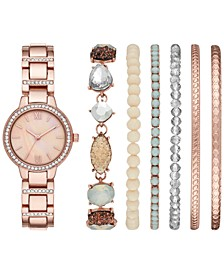 Women's Rose Gold-Tone Bracelet Watch 30mm Box Set