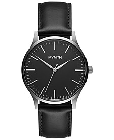 Men's 40 Series Black Leather Strap Watch 40mm