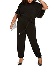 Plus Size Belted Dolman Jumpsuit