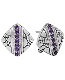 Cubic Zirconia Crocodile Classic Stud Clip Earrings in Sterling Silver
