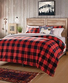 G.H. Bass 3-Piece Buffalo Check Flannel Full/Queen Comforter Set