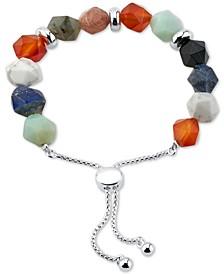 Multicolor Stone Bead Bolo Bracelet in Fine Silver-Plate