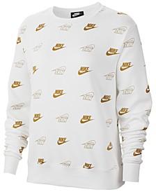 Women's Sportswear Shine Metallic-Print Sweatshirt
