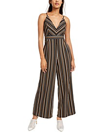 Juniors' Striped Jumpsuit