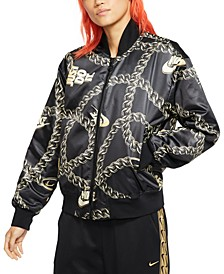Women's Sportswear Printed Satin Bomber Jacket