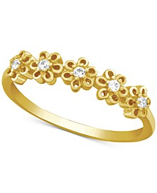 Cubic Zirconia Flower Ring in Gold-Plate