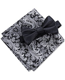 Men's Edith Solid Pre-Tied Bow Tie & Paisley Pocket Square Set, Created for Macy's