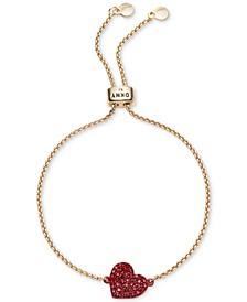 Gold-Tone Crystal Heart Slider Bracelet