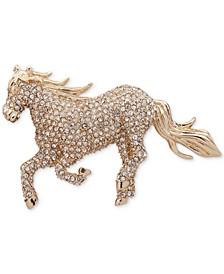 Gold-Tone Pavé Crystal Horse Pin