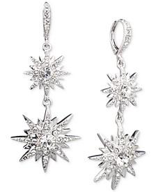 Silver-Tone Crystal Star Double Drop Earrings