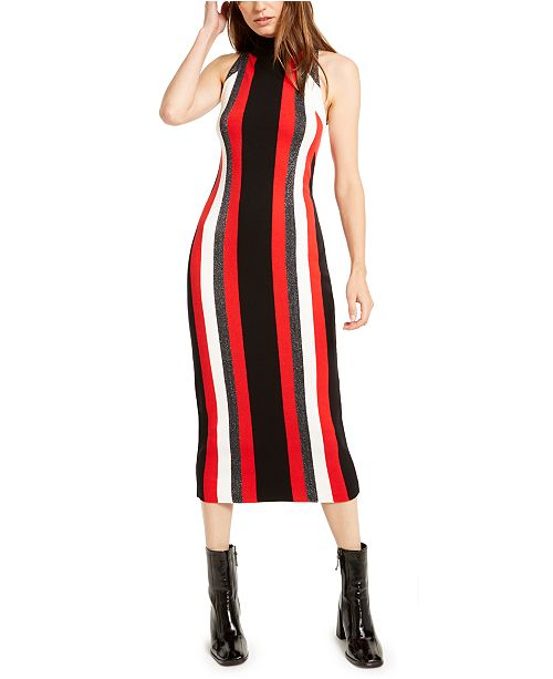 Bar III Metallic-Stripe Sweater Dress, Created For Macy's