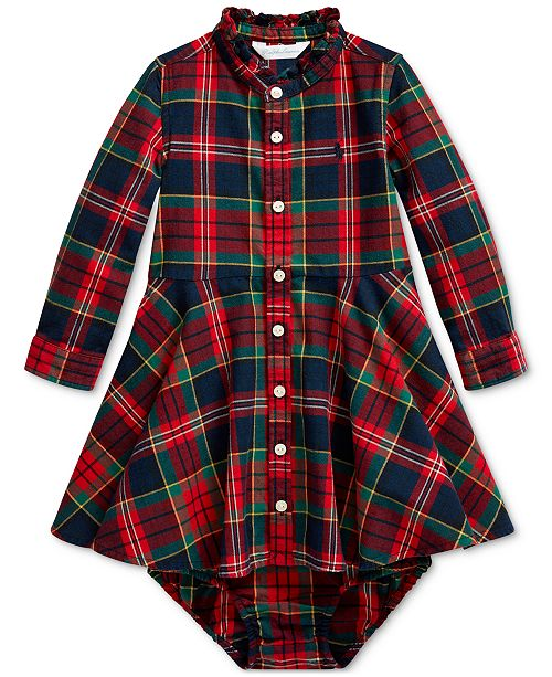 Polo Ralph Lauren Baby Girl's Plaid Shirtdress & Bloomer