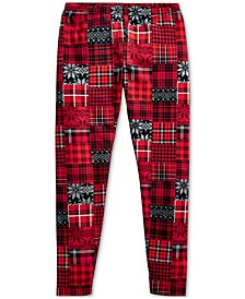Big Girl's Patchwork Plaid Stretch Jersey Legging