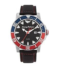 Men's Multi Colored Bezel Black Leather Strap Watch, 45mm