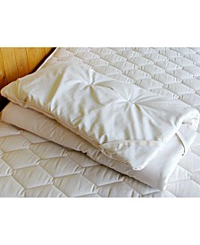 Natural Crib Quilted Wool Mattress Topper Encased in Organic Cotton Sateen