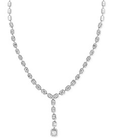 """EFFY® HEMATIAN Diamond Beaded Baguette Cluster 16"""" Lariat Necklace (3-3/4 ct. t.w.) in 18k White Gold"""