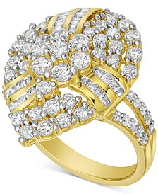Diamond Cluster Pear-Shaped Statement Ring (2 ct. t.w.) in 10k Gold