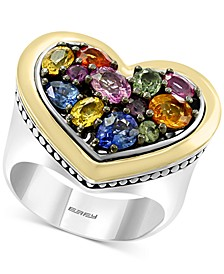 EFFY® Multi-Sapphire Heart Ring (2-3/4 ct. t.w.) in Sterling Silver & 18k Gold