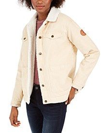 Juniors' Bright Night Fleece-Lined Corduroy Jacket