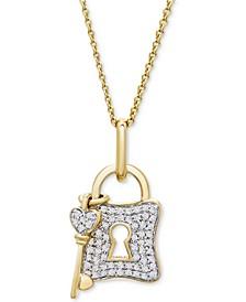 "Diamond Lock & Padlock 18"" Pendant Necklace (1/5 ct. t.w.) in 10k Gold"