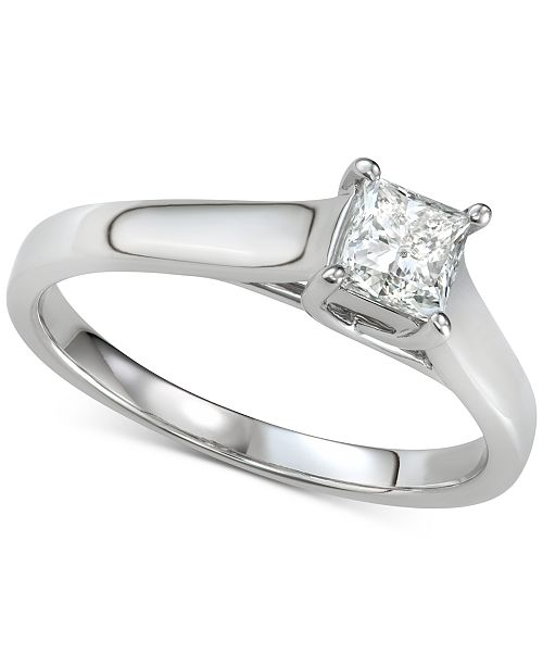Macy's Diamond Princess Solitaire Engagement Ring (5/8 ct. t.w.) in 14k White Gold