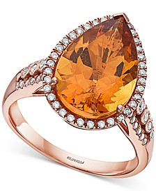 EFFY® Citrine (5-1/3 ct. t.w.) & Diamond (1/3 ct. t.w.) Pear Statement Ring in 14k Rose Gold