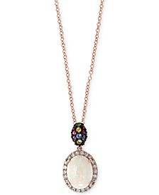 "EFFY® Multi-Gemstone (1-1/10 ct. t.w.) & Diamond (1/0 ct. t.w.) 18"" Pendant Necklace in 14k Rose Gold"