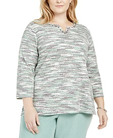 Plus Size Lake Geneva Space-Dyed Knit Top