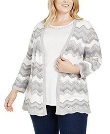 Alfred Dunner Plus Size Lake Geneva Chevron Layered-Look Sweater