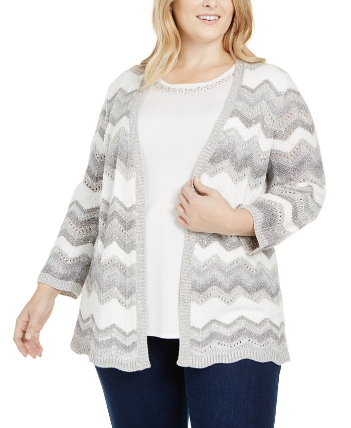Alfred Dunner - Plus Size Lake Geneva Chevron Layered-Look Sweater